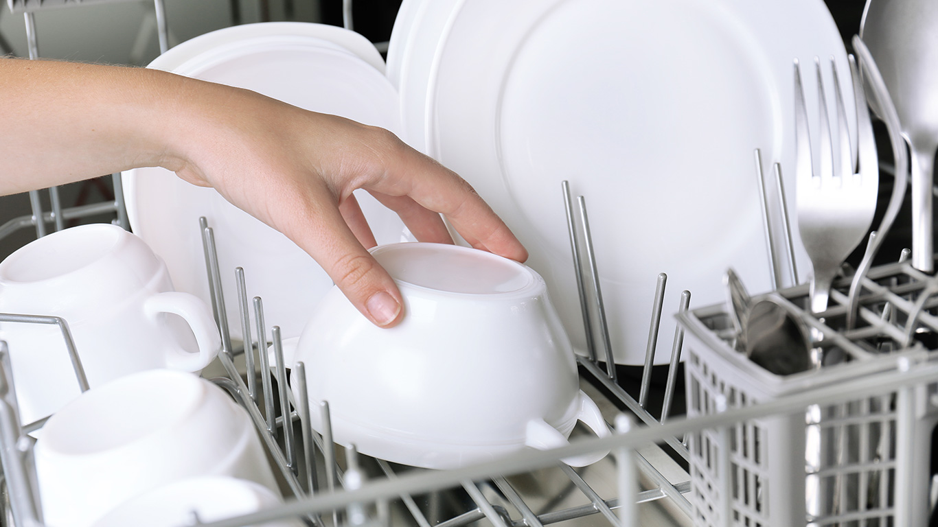 hand-in-dishwasher
